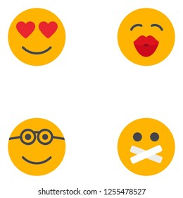 Emoji, emoticons face expressions lineal color flat icon set EPS 10 vector format. Transparent background.