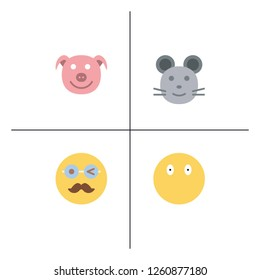 Emoji, emoticons, face expressions lineal flat icon set EPS 10 vector format. Transparent background.
