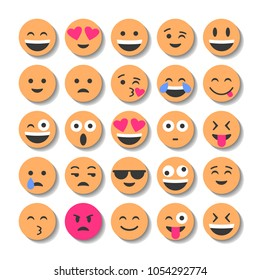 Emoji and emoticons. Smiles, flat icons. Set or collection of characters.