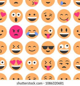 Emoji and emoticons. Smiles, flat icons. Set or collection of characters. Seamless pattern