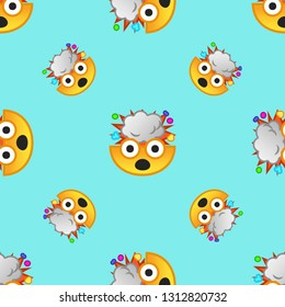 Emoji and emoticons, smiley face. Repeating flat Exploding head icon background pattern. Design for wrapping paper or greeting card.