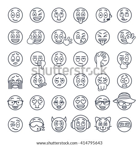 Emoji Emoticons Smiley Face Thin Lines Stock Vector Royalty Free