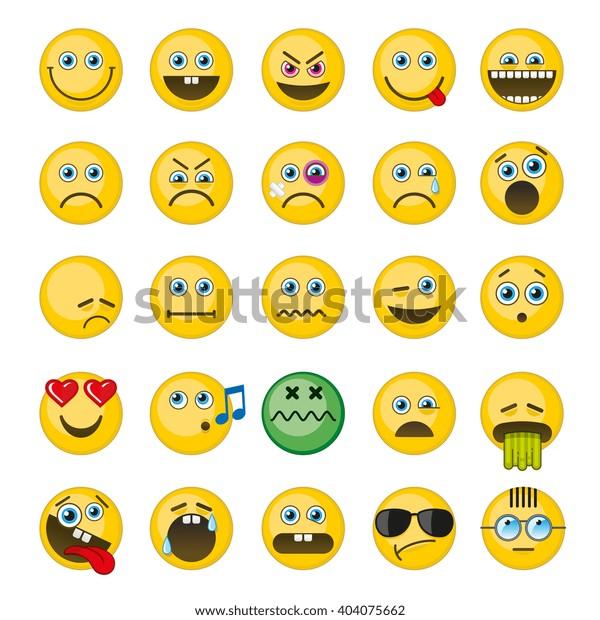 Emoji Emoticons Vector Icons Set Emotion Stock Vector