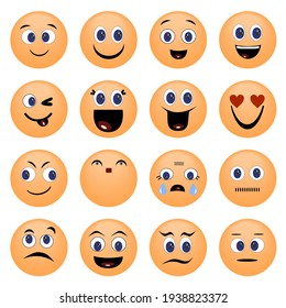Emoji with Emotional Expressions Isolated on White Background. Creative Design Vector Illustration