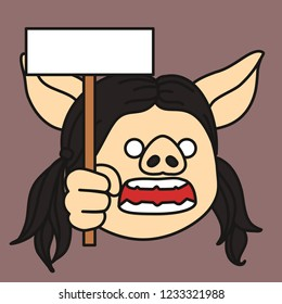 emoji with excited stump orator pig woman with pigtails who is holding a banner in her hand and protests something at mass meeting, simplistic colorful picture, simple handdrawn illustration