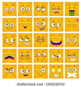 Emoji face. Funny square cartoon yellow faces set. Comic stickers collection. Vector illustration.