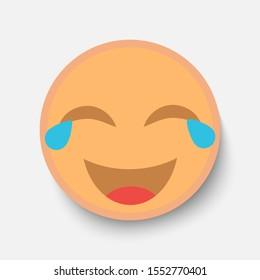 Emoji face, illustration icon emotion, vector laugh, lol, strong laugh.