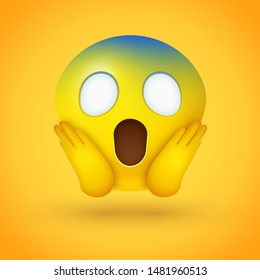 Emoji face screaming in fear with wide white eyes, a long open mouth, hands pressed on cheeks, and a pale blue forehead on yellow background - represents horror, fright, but also shock, awe, disbelief