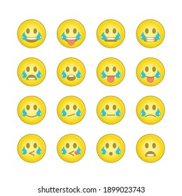 Emoji face sets. Icons Emoticons collection 15 of 15. Kit of emoji signs. Cartoon faces expressing different feelings. Big Set high quality vector cartoonish emoticons. EPS 10.