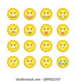 Emoji face sets. Icons Emoticons collection 9 of 15. Kit of emoji signs. Cartoon faces expressing different feelings. Big Set high quality vector cartoonish emoticons. EPS 10.