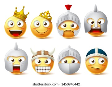 Emoji face vector character set. Yellow emoticon characters of king, queen, knights, warriors wearing crown and armor with brave and strong facial expressions isolated in white background.