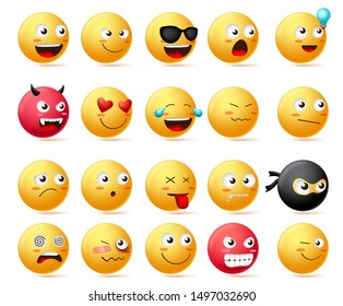 Emoji faces vector set. Emoticons with side view faces character in sad, inlove, silent, dizzy, ninja, angry and happy facial expression isolated in white background. Vector illustrarion.