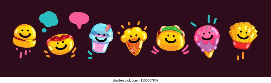 Emoji fast food. Vector illustration of burger stickers, hot dog, milkshake, pizza, pita, ice cream and french fries. Set of cartoon puffy icons