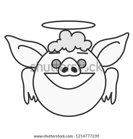 Emoji Fat Obese Holy Smiling Angel Stock Vector Royalty Free