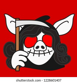 emoji with female angel of death in a black hood with a scithe, smiling grim reaper pig woman, laughing skull with empty eyes and stitched mouth, simple hand drawn emoticon, eps 10 vector clip art