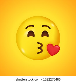 Emoji with flying kiss red heart and winking eye face. A yellow face emoji kiss. Big smile in 3D. Vector illustration.