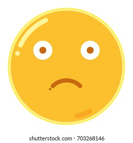 Emoji of Frown Face in Flat Design Icon Vector Illustration