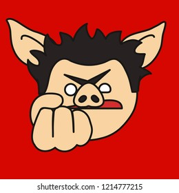 emoji with furious & angry pig guy that shows a fist which means he's going to punch you in the face & kick your ass, simple hand drawn emoticon, simplistic colorful picture, eps 10 vector clip art