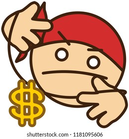 emoji with gangsta rapper or hip hop singer in bandana that is showing gold or copper dollar sign necklace on a thread while doing a cool rap gesture with both hands, simple colored emoticon