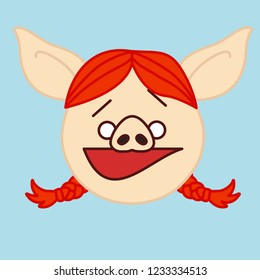emoji with ginger pig woman person with pigtails that got caught doing wrong  & raised brows, simple hand drawn emoticon, simplistic colorful picture