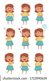 Emoji Girl with Different Face Expressions Like Puzzled and Unhappy Face Vector Set