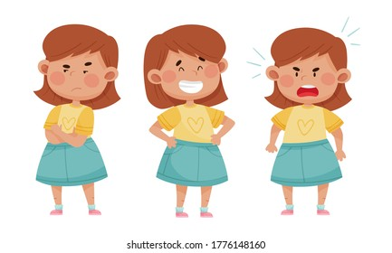 Emoji Girl with Different Face Expressions Like Angry and Cheerful Face Vector Set