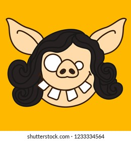 emoji with goofy pig woman's face with crooked teeth, differently sized eyes, silly & dumb facial expression & overall stupid look, simple hand drawn emoticon