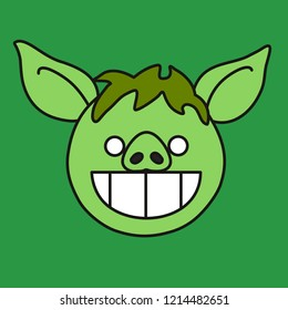 emoji with green grinning stoned pig face with wide open smile & white shiny teeth that represent a troll grin emotion, simple hand drawn emoticon, simplistic colorful picture, eps 10 vector clip art