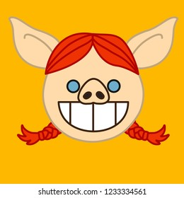 emoji with grinning stoned redhead pig woman with wide open smile & pigtails & white shiny teeth that represent a grin emotion, simple hand drawn emoticon, simplistic colorful picture