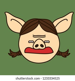 emoji with grumpy disgusted pig woman with pigtails & frowned brow, simple hand drawn emoticon, simplistic colorful picture, vector art with pig-like characters