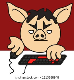 emoji with grumpy pc gamer pig that plays a personal computer game using a mouse and a keyboard, bored boy addicted to gaming grinds something in an mmorpg virtual world for hours sitting on a chair