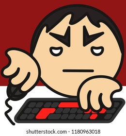 emoji with grumpy pc gamer that plays a personal computer game using a mouse and a keyboard, bored boy addicted to gaming grinds something in an mmorpg virtual world for hours sitting on a chair