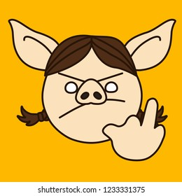 emoji with grumpy pig woman who shows explicit middle finger gesture, simple hand drawn emoticon, simplistic colorful picture, vector art with pig-like characters
