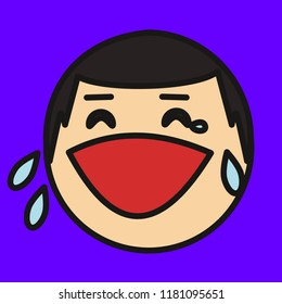 emoji with guy whos face is expressing laughter or joy, happily crying character, simple colored emoticon, simplistic colorful pictogram, ball like personage with thick outlines, primitive vector art