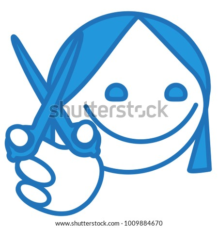 Emoji Hairdresser Haircutter Girl Holding Scissors Stock Vector