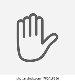 Emoji hand icon line symbol. Isolated vector illustration of stop sign concept for your web site mobile app logo UI design.