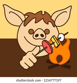 emoji with happy camper pig man toasting marshmallows on a bonfire, smiling emotion roasting some food on a stick, simple hand drawn emoticon, simplistic colorful picture, eps 10 vector clip art