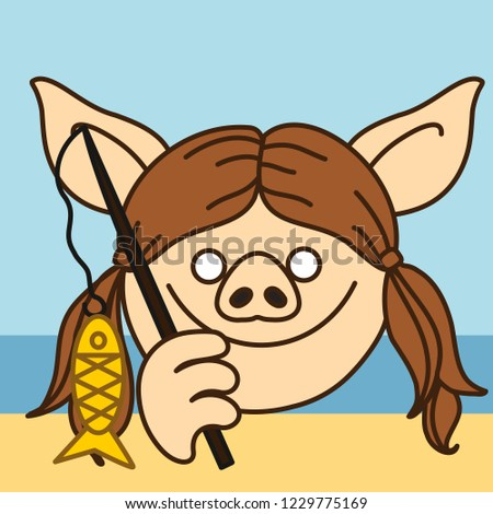 emoji happy fisherman pig woman that stock vector royalty