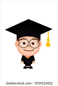 emoji with happy graduate student, guy wearing a graduation hat, funny cartoon character with simplistic facial expression, simple hand drawn vector emoticon