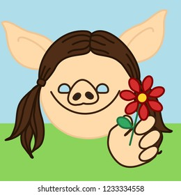 emoji with happy pig girl with pigtails that is giving a flower to her boyfriend at the grass field, simple hand drawn emoticon, simplistic colorful picture, vector art with pig-like characters