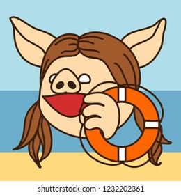 emoji with happy pig woman that is holding an emergency water lifebuoy at the sea beach, simple hand drawn emoticon, simplistic colorful picture, vector art with pig-like characters