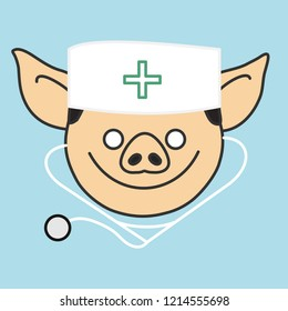 emoji with happy smiling pig doctor with a medical stethoscope that is wearing a skullcap with green cross sign, simple hand drawn emoticon, simplistic colorful picture, eps 10 vector clip art
