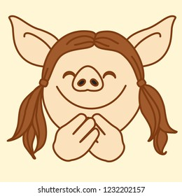 emoji with happy smiling pig gal who closed her eyes because she is feeling bliss or pleasure, simple hand drawn emoticon, simplistic colorful picture, vector art with pig-like characters