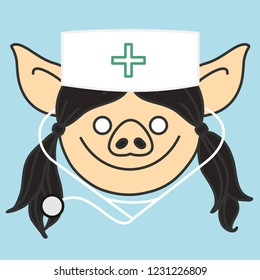 emoji with happy smiling pig woman doctor with a medical stethoscope that is wearing a skullcap with green cross sign, simple hand drawn emoticon, simplistic colorful picture, eps 10 vector clip art