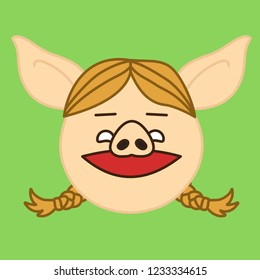 emoji with happy smiling pig woman character with smirking facial expression & a smile on her face, simple hand drawn emoticon, simplistic colorful picture