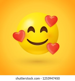 Emoji with hearts - in love face -  emoticon face with smiling eyes, rosy cheeks, and three hearts floating around its head - expresses happy, affectionate feelings, especially being in love