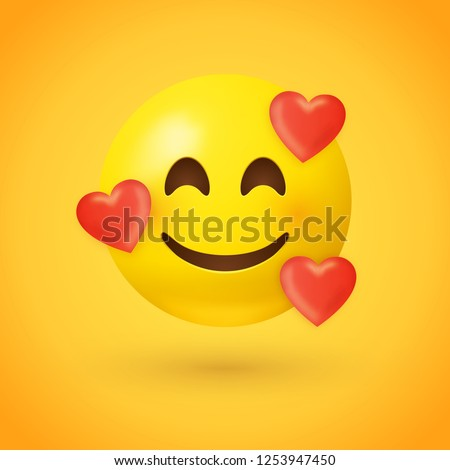 Emoji with hearts - in love face - emoticon face with smiling eyes, rosy cheeks