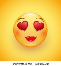 Emoji with hearts - a loving face with eyes in the form of hearts, pink cheeks and bright lips, expresses happy, affectionate feelings, especially in love.