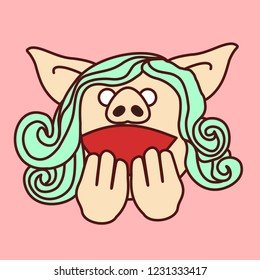 emoji with highly excited & amazed pig woman who shows hands to mouth gesture, simple hand drawn emoticon, simplistic colorful picture, vector art with pig-like characters