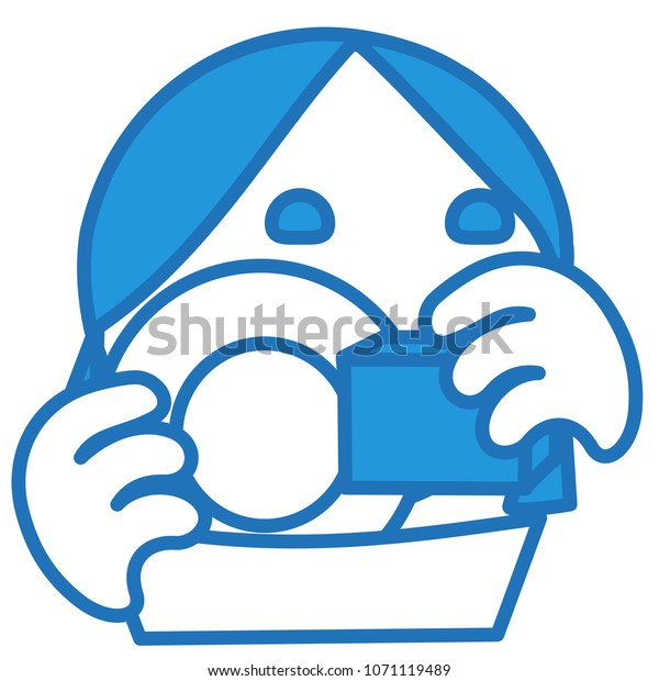 Emoji Housewife Washing Dishes Using Sponge Stock Vector
